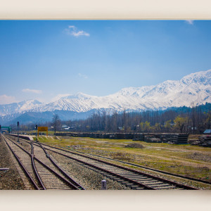 Kashmir journey mountain view from train